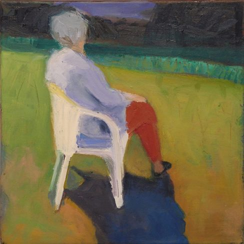 "Seated Woman, 2015, 36"" x 36"", oil painting"