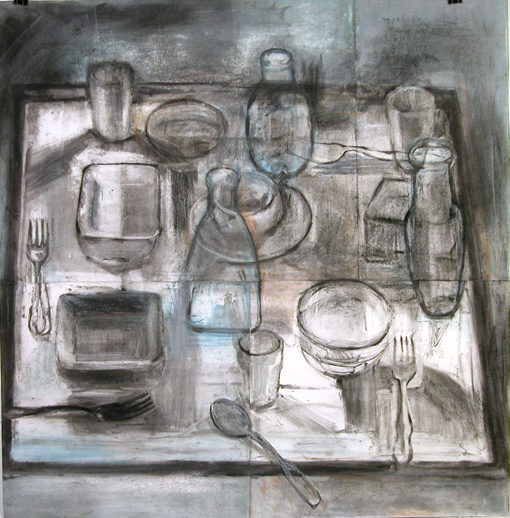 "Table Tops #3, monotype, 28""W x 28""H, 2007"