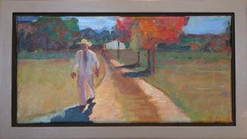 "Autumn Walk, 2015, 6""H x 16""W, oil painting"