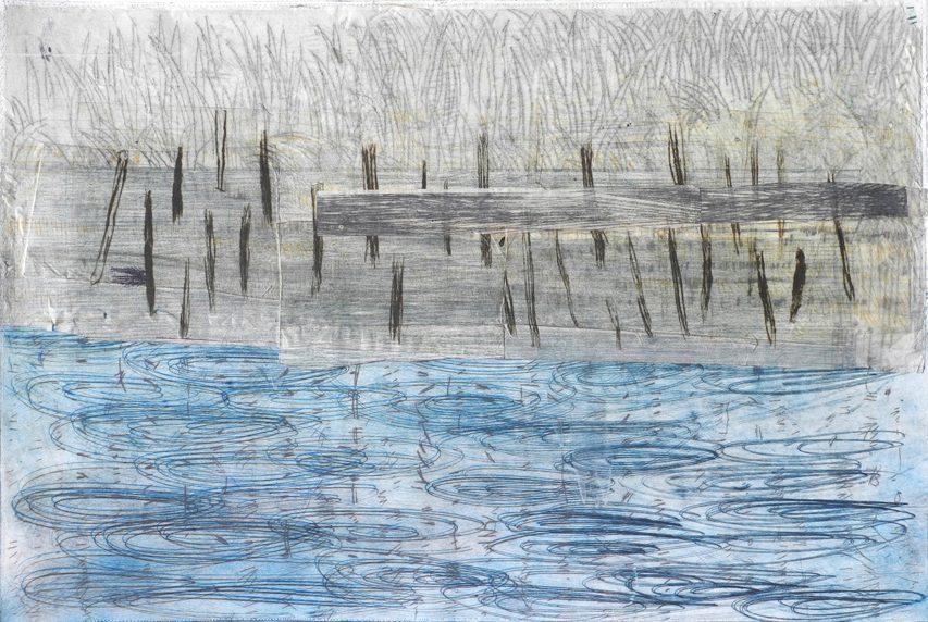 Pond 1, drypoint, collage, 18 x 27″, 2017
