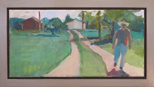 "Summer Walk, 2015, 6""H x 16""W, oil painting"